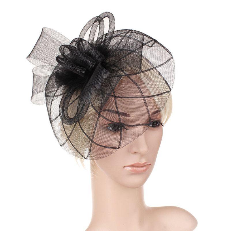 Black Birdcage Veil Wedding Hat White Fascinator Bridal Hats Chic Women Headwear 2019 Wedding Accessories for Hair