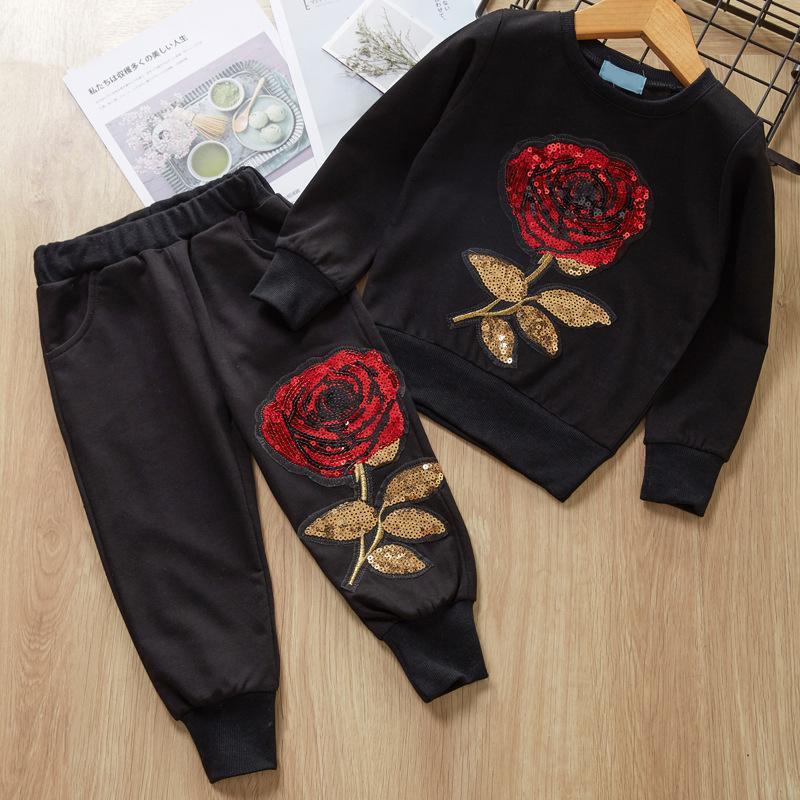 Kinder Mädchen Jungen Bekleidung Set Stickerei Langarm-Herbst-Frühlings-Pullover Tops + Long Pants Sportwear Outfit für 3T-7T