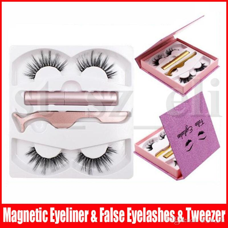 2 Pairs 3D Magnetic False Eyelashes Eyeliner Set Magnetic Eyeliner + Tweezers + Magnetic Fake Eyelashes 8 Styles
