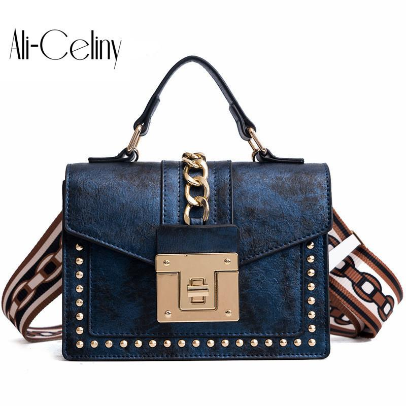 Women's Fashion Pu Leather Girl Rivets Star Mini Bag High Quality Wide Shoulder Strap Bag Messenger Small Square Package