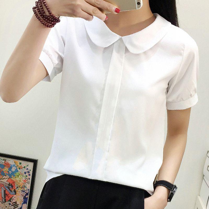 시폰 Ruffles Women Shirts 레이디스 화이트 셔츠 O-Neck Short / Long Sleeve Blouse Shirt