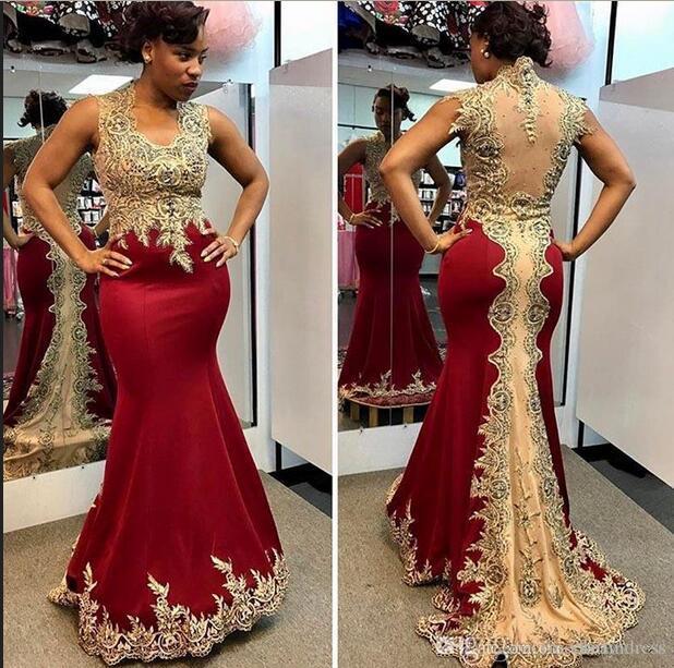 Satin Scoop Neck Sheer africaine sirène robes de soirée Tulle appliques de perles longueur de plancher Robes de bal Party formelles