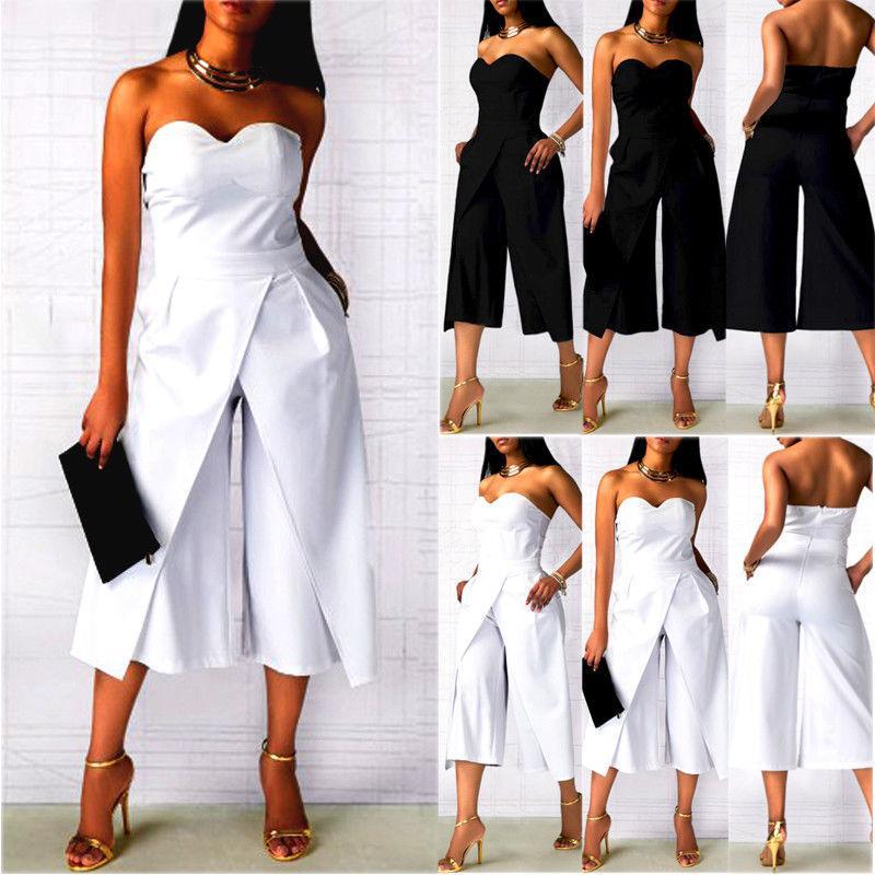 Mode sans bretelles formelle Casual femmes Ladies manches Packets solide Flare 2 Jumpsuit Couleur des tenues de fête d'été Vêtements