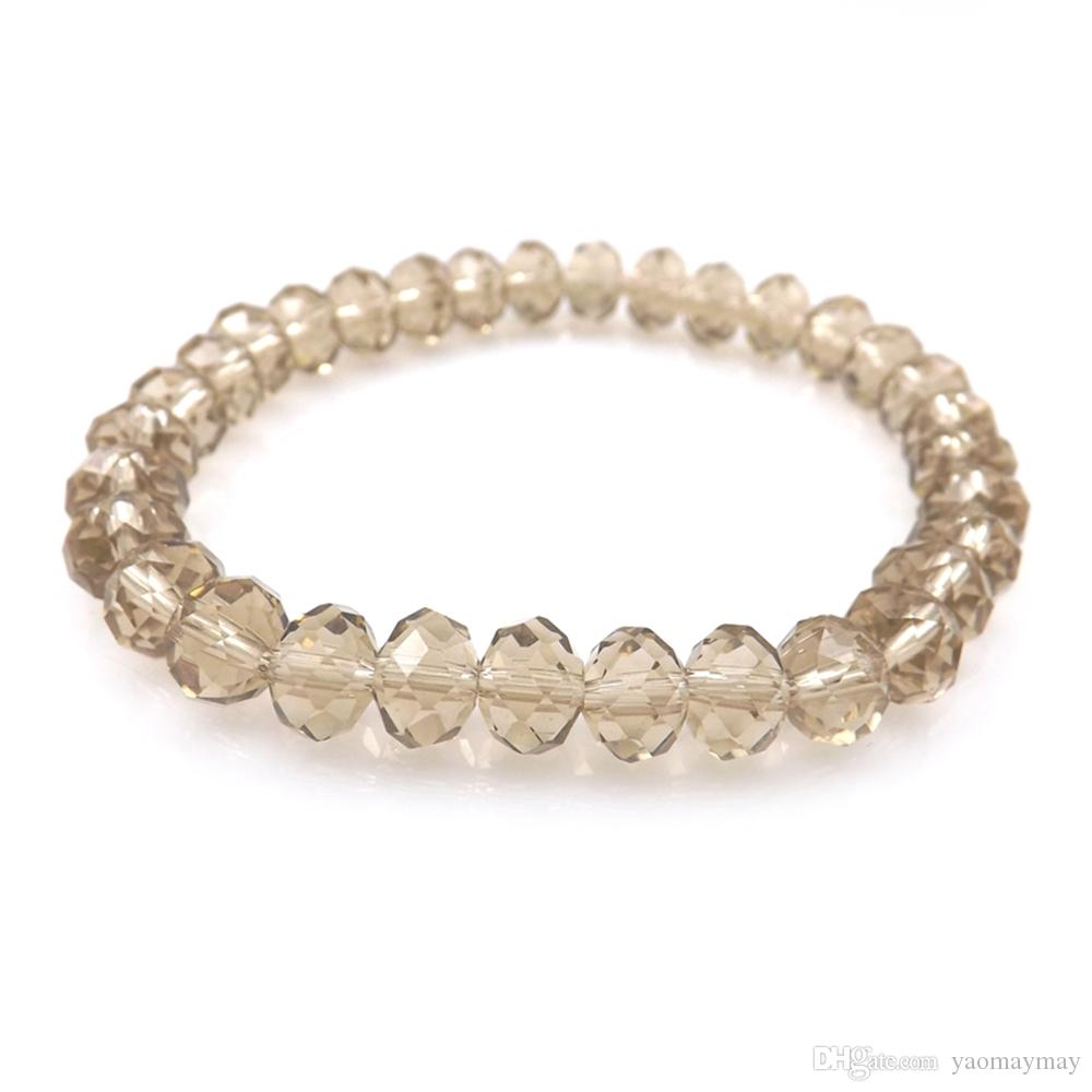 Champagne Color 8mm Faceted Crystal Beaded Bracelet For Women Simple Style Stretchy Bracelets 20pcs/lot Wholesale