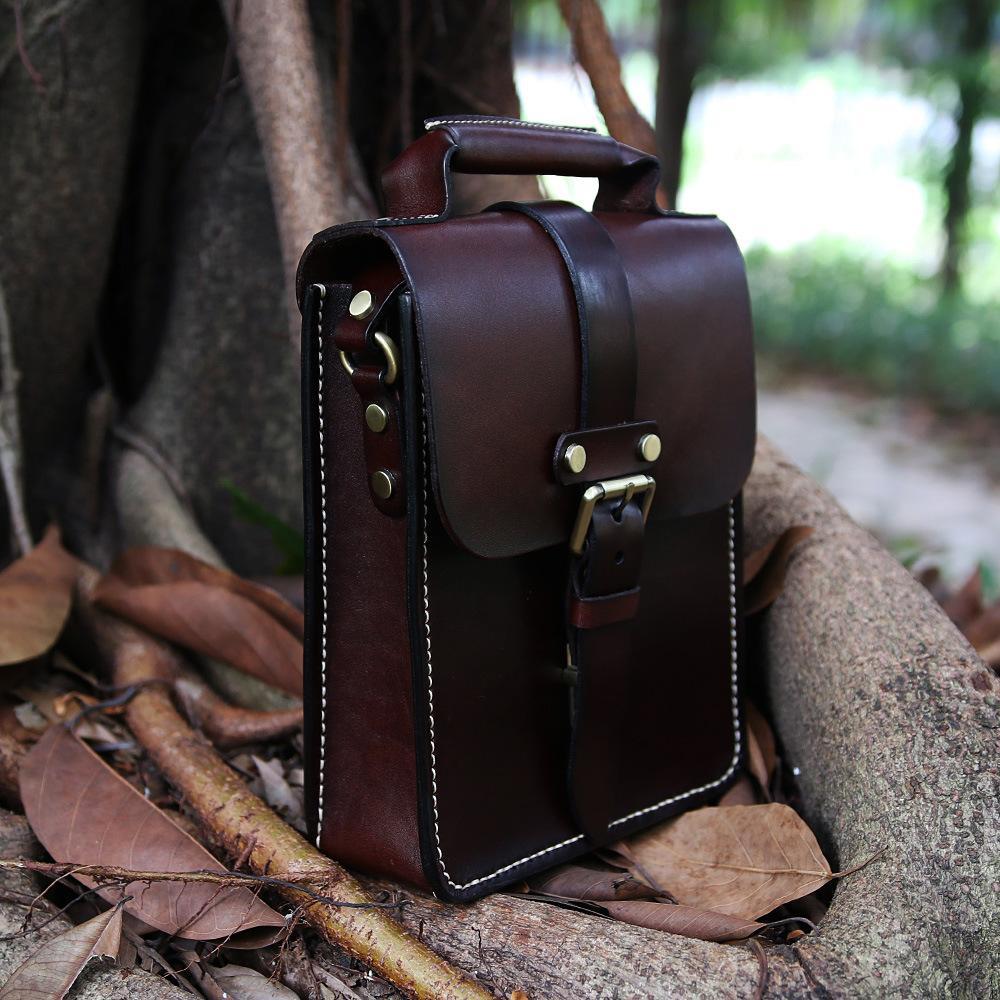 Pflanzlich gegerbtes Leder Herren-Handtasche Mann Tasche Schulternaht Großhandel benutzerdefinierte Hersteller