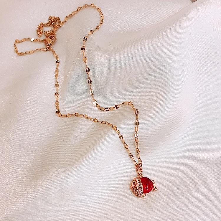 Mode Acier Titane Poisson Cristal Sexy court collier pendentif Sautoirs cou chaîne pour femmes Danse Party