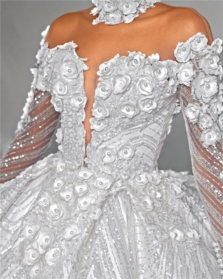 Luxury Sparkly Long Sleevs Ball Gown Wedding Dress With 3D Flowers Vintage Hign Neck Saudi Arabia Dubai Plus Size Bridal Gown