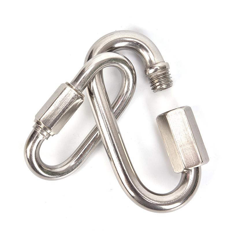 Stainless Steel Screw Lock Climbing Gear Carabiner Quick Links Safety Snap Hook^