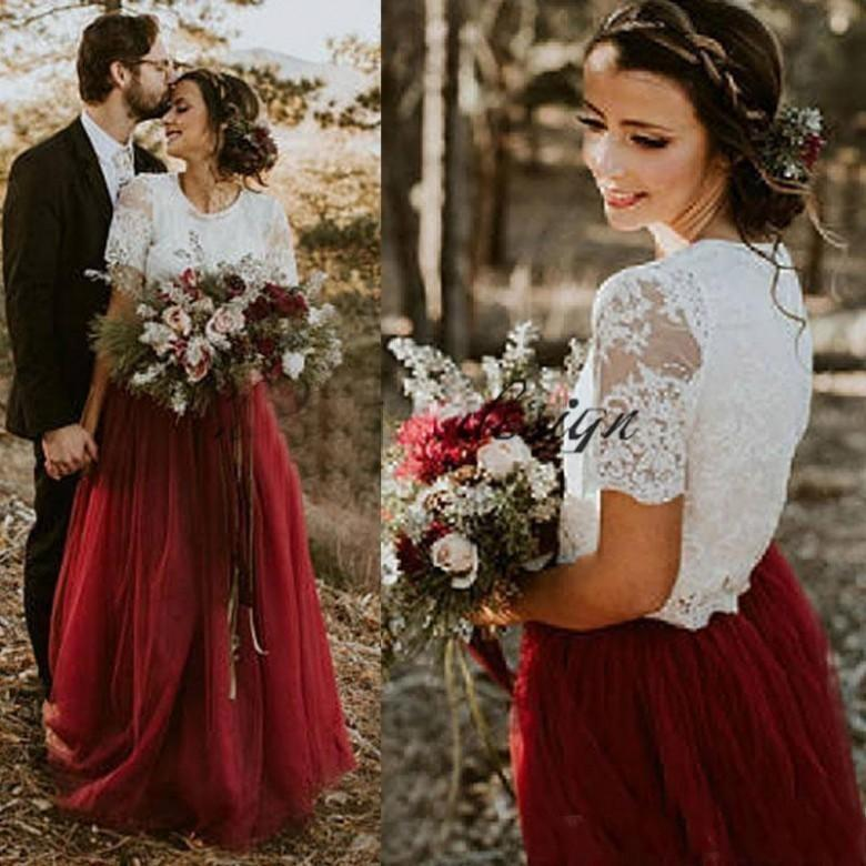 2019 Cheap Burgundy Tulle Country Wedding Dresses A Line Short Sleeves Lace Bridal Gowns Plus Size Two Pieces Dress