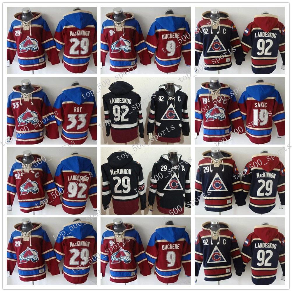 Herren Colorado Avalanche Hoodie Jersey19 Joe Sakic 29 Nathan Mackinnon 33 Patrick Roy Hoody Sweatshirts Jerseys Nähte Benutzerdefinierte Name