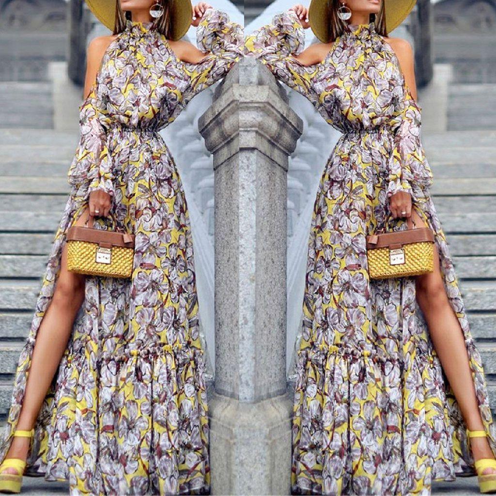 Bohemian Print Long Dress vestidos de festa Fashion Womens Sexy Long sleeve Off Shoulder Printed Evening Turtleneck Dresses#8