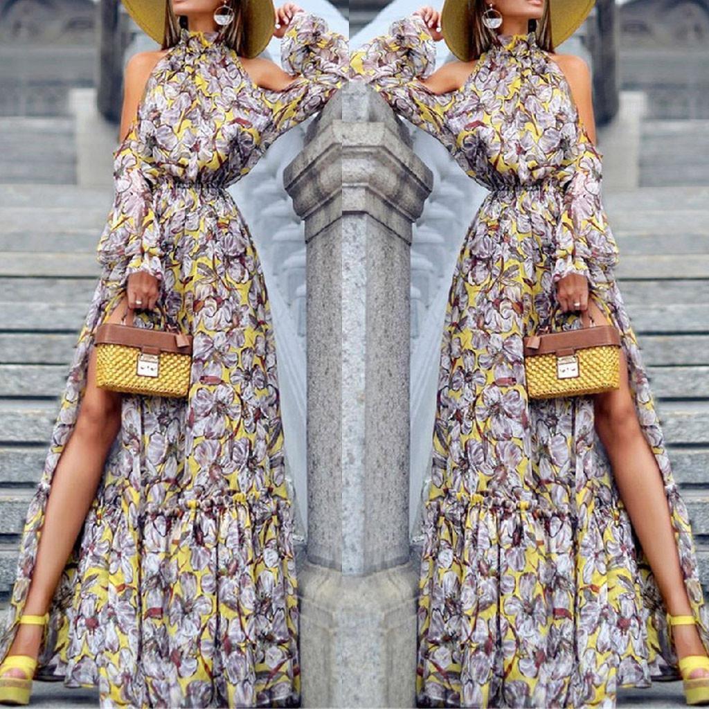 어깨 인쇄 저녁 터틀넥 드레스 오프 롱 드레스 vestidos 드 페스타 패션 여자 섹시한 긴 소매 인쇄 보헤미안 # 8