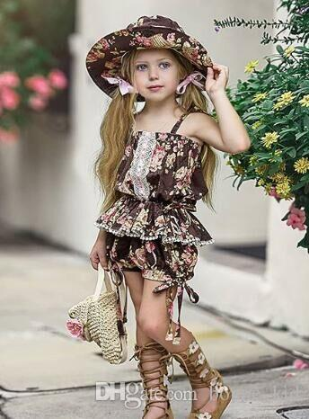 floral printing kids girl urban lace clothing 2Pcs set Outfits Kid Casual Clothes kids strap top clothing