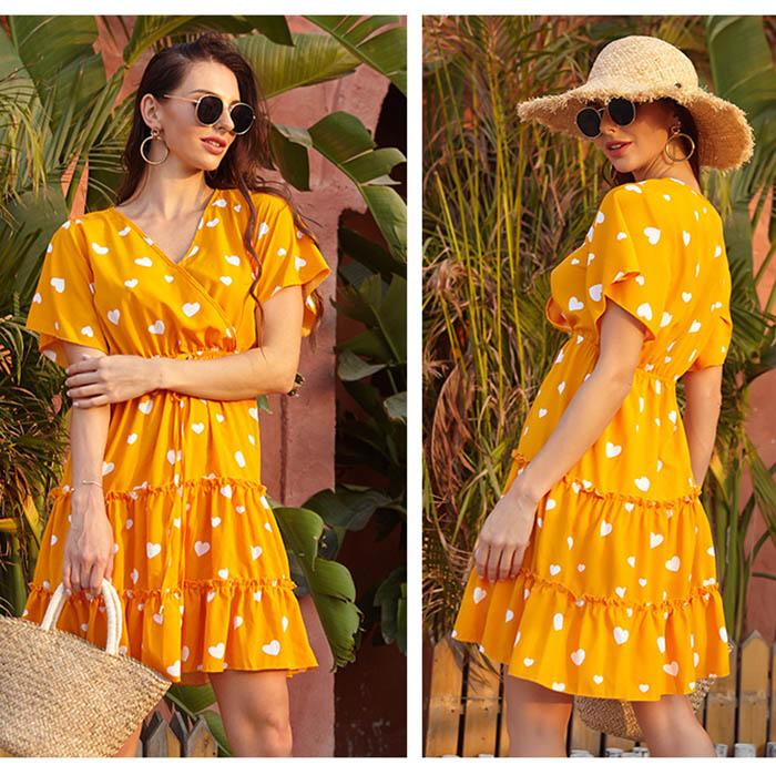 Oficina nueva moda del lunar de la primavera de la vendimia vestidos de las mujeres del verano Dresss Pring 2020 hasta la rodilla floral Stort de vestir de manga Mujer