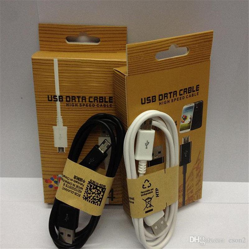 1m Micro USB Cable V8 V9 1M 3FT melhor qualidade Cabo USB Data Sync Charger Cabo Branco Preto com caixa de varejo para Samsung S6 S7