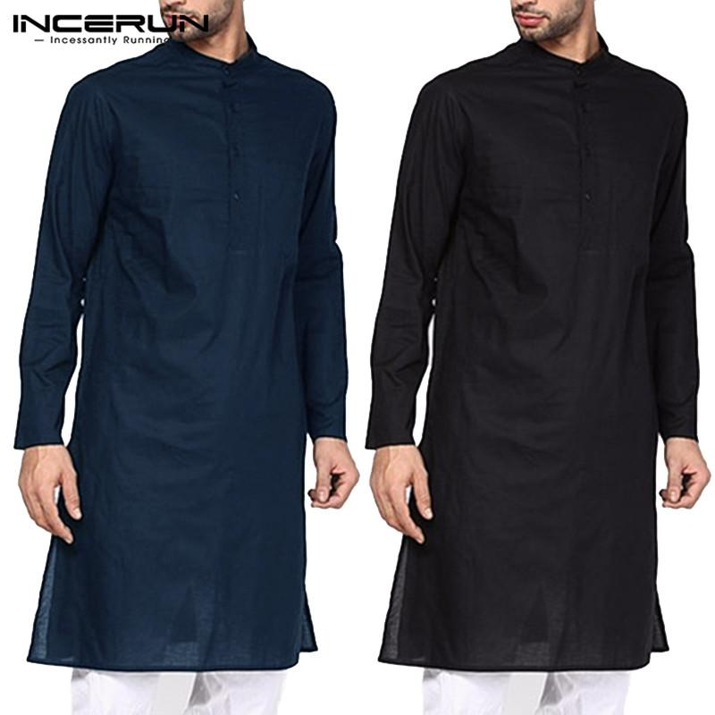 Hombres juegos de la ropa Camisa de manga larga del traje masculino flojo collar del soporte de palos largos islámica Camisa Hombre