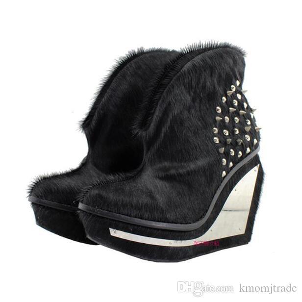 Kadın Moda Siyah Hakiki Deri Jeffrey Platformu Kama Topuk Ayak bileği Boots Campbell Studs Perçinler At Saç Çizme Ayakkabı