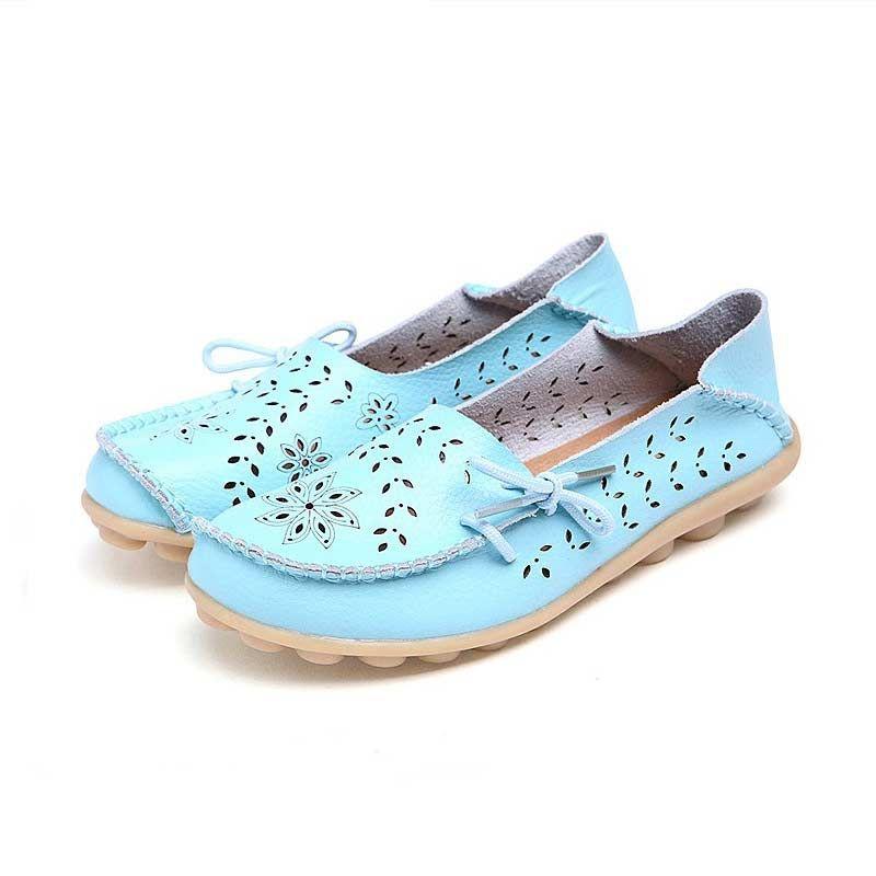 Sapatos casuais mulher flats 2019 moda sólida PU apartamentos couro calçados femininos Toe Praça sapatos mulheres verão respirável Plus Size