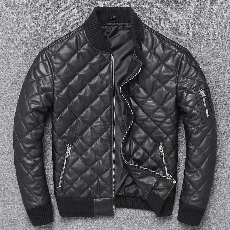 ZVAQS 2020 Inverno Estilo de algodão quente Genuine Leather Jacket clássico da manta 100% casaco de pele Homem Moda slim Roupa Pph847