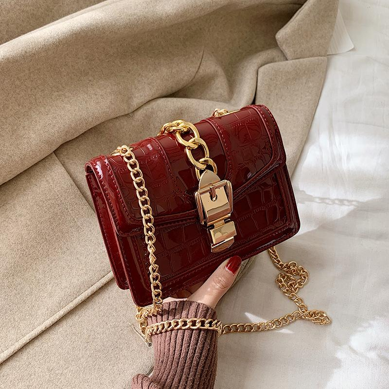 2020 Fashion New Handbag High Quality Pu Leather Women Bag Patent Leather Bright Shell Small Square Chain Shoulder Bags