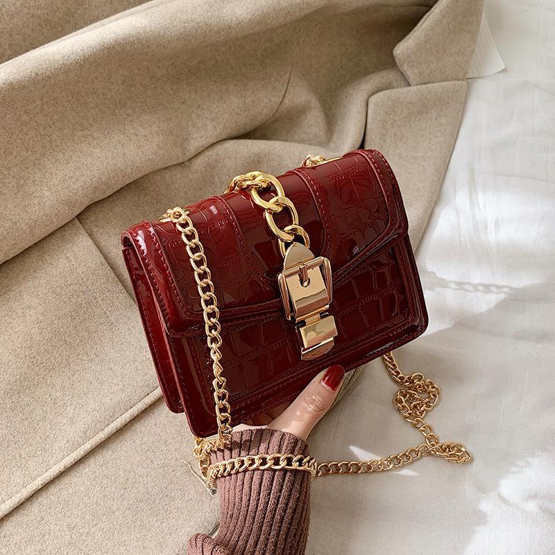 2020 Moda Yeni Çanta Yüksek Kalite Pu Deri Kadınlar Çanta Rugan Parlak Shell Küçük Kare Zincir Omuz Çantaları