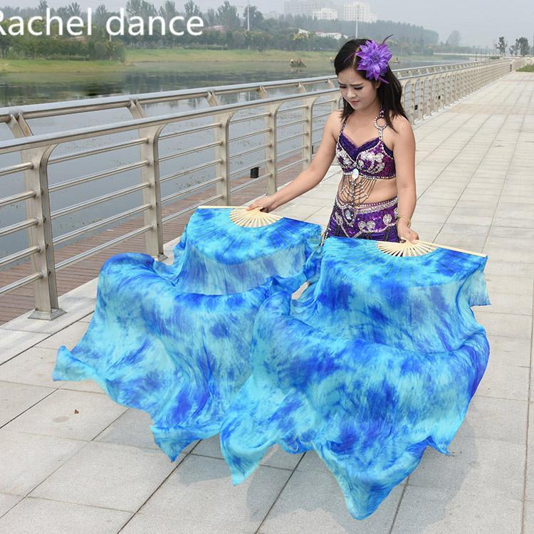 중국 리얼 100 % 실크 동양의 춤 팬 베일 그라데이션 화재 많은 색상 팬 밸리 댄스 무대 성능 1pair