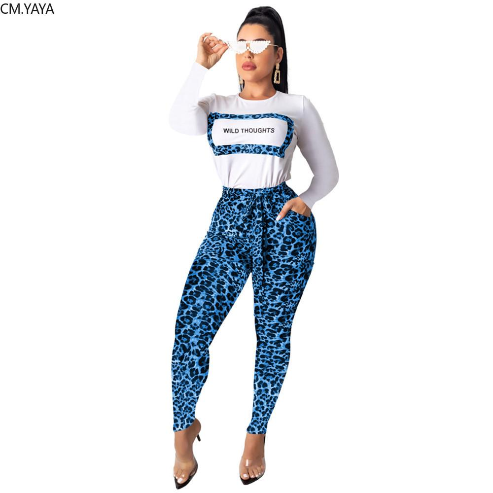 New Women set Leopard Letter Print Tracksuit Full Sleeve T-shirt Pencil Pants Suit Sportwear Two Piece Set Overall 6570