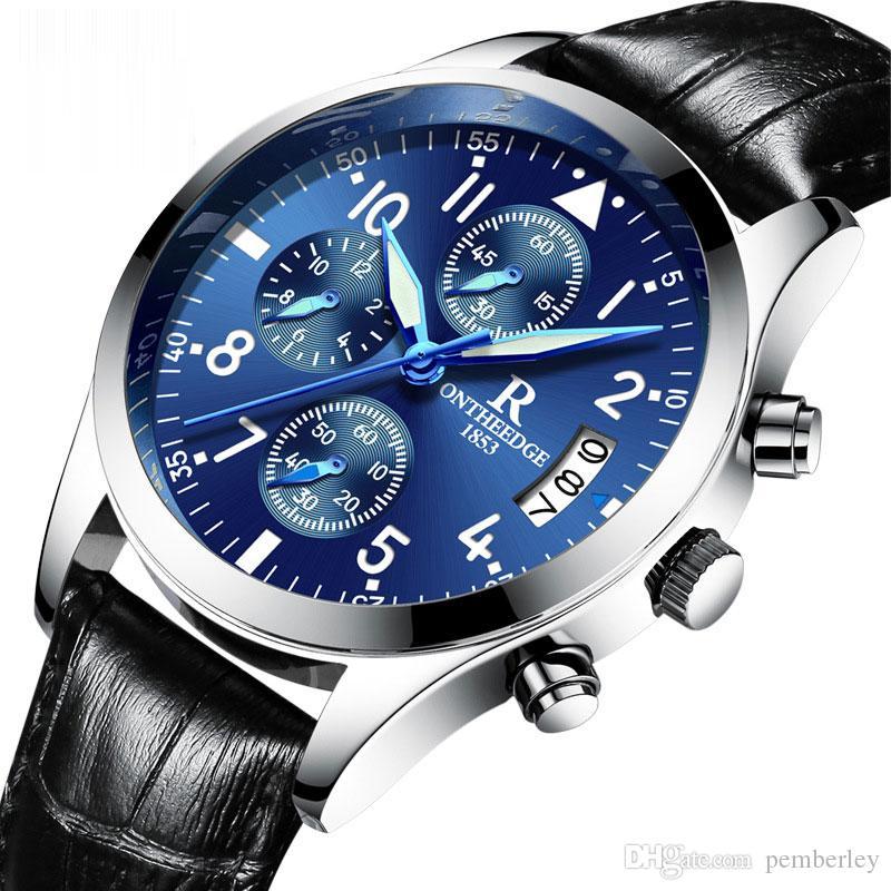 RZY028 Design Echtes Leder Diamant Display Blau Zeiger Tourbillion Wasserdichte Herren Automatikuhren Top Marke Luxus