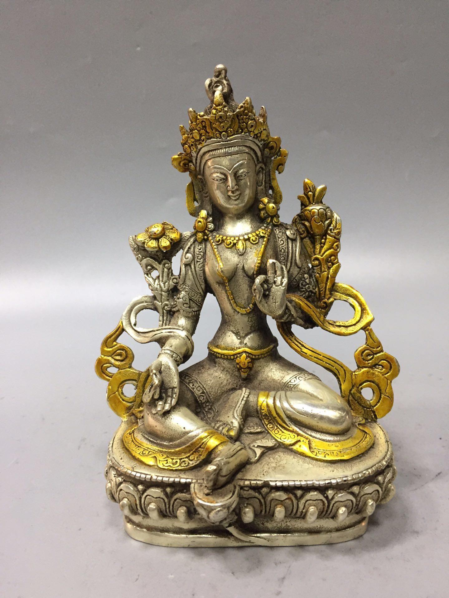 Rara china antigua tibetana de plata tallada a mano estatua del Buda de Tara