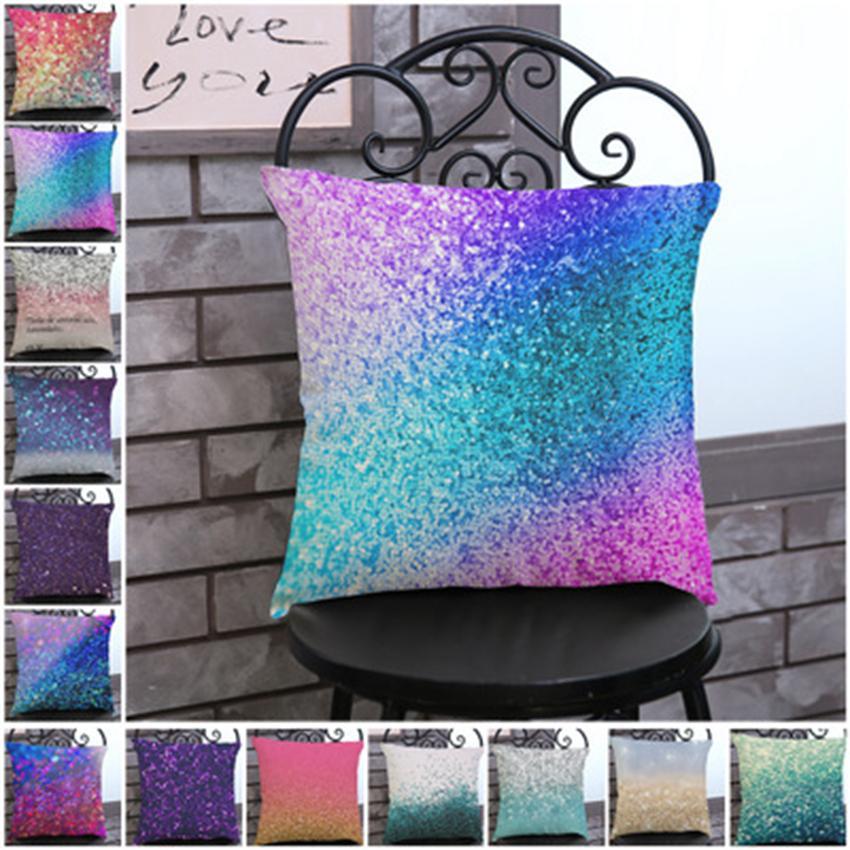 Dazzling Farbe gedruckt Baumwoll-Leinen-pillowcase 45 * 45cm Polyester-Leinen pillowslip Haus Sofa Büropolsterbezüge ZZA1169