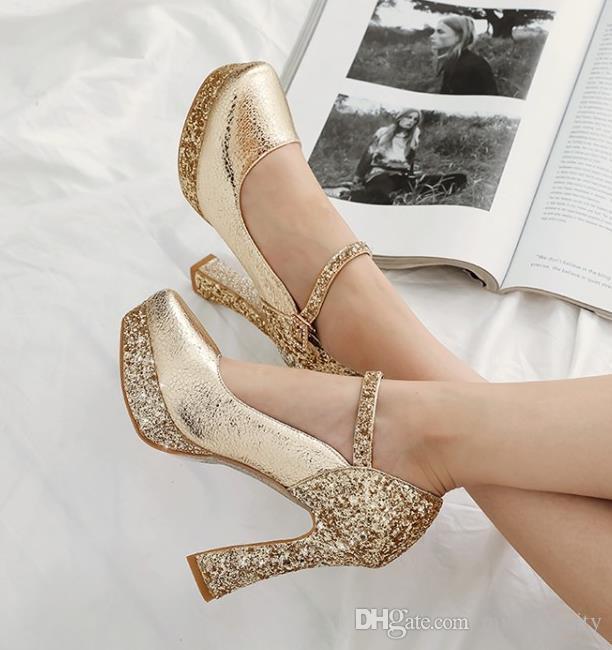 pequeño tamaño grande de 32 33 a 40 41 42 43 de oro de la moda los tacones de diseño de lentejuelas de plata zapatos de tacón alto gruesos zapatos de boda