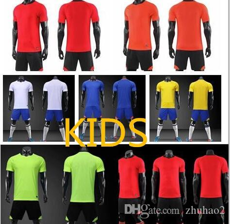 2019 2020 Soccer Uniform Kit Blank Football Training Sport Shirt Wear Shorts Children Soccer Jersey Uniform Customize Name #5022