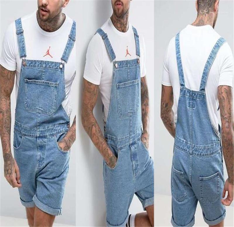 Giyim Erkek Yaz Vintage Denim Pantolon tulumları Şort Moda Diz Boyu Siyam Süveter Düğme Fly Erkek