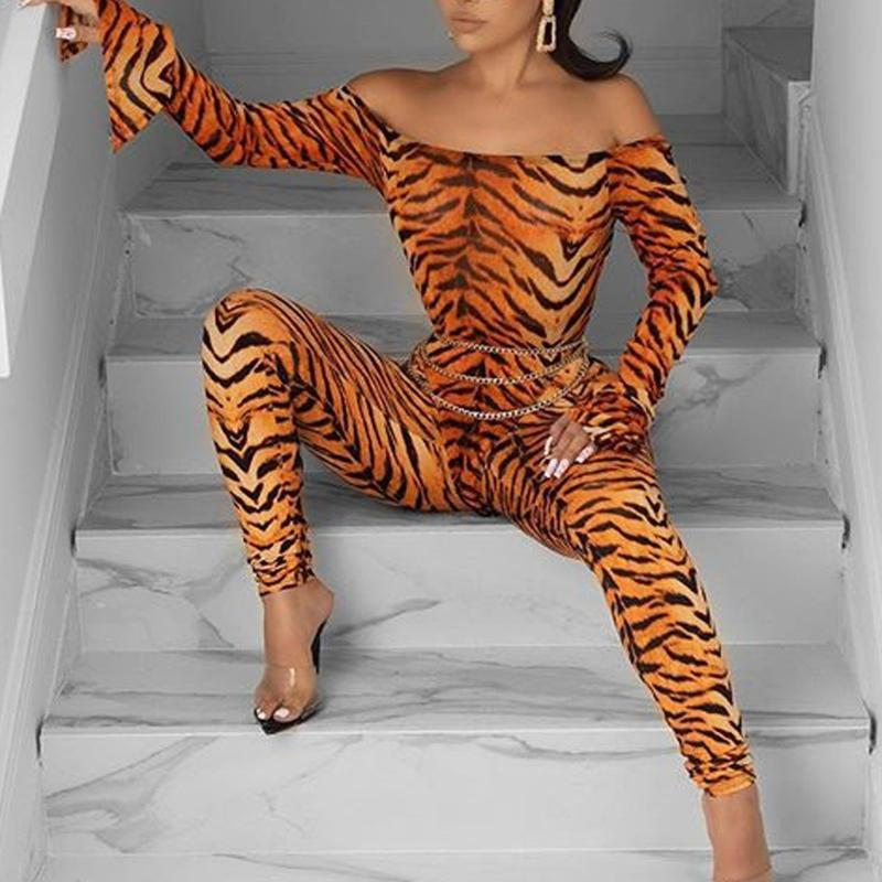 Sportanzüge für Frauen zweiteiliger Satz Art und Weise Frauen weg von der Schulter Langarm-Tiger-Muster Jumpsuits lange Hosen Set * 3