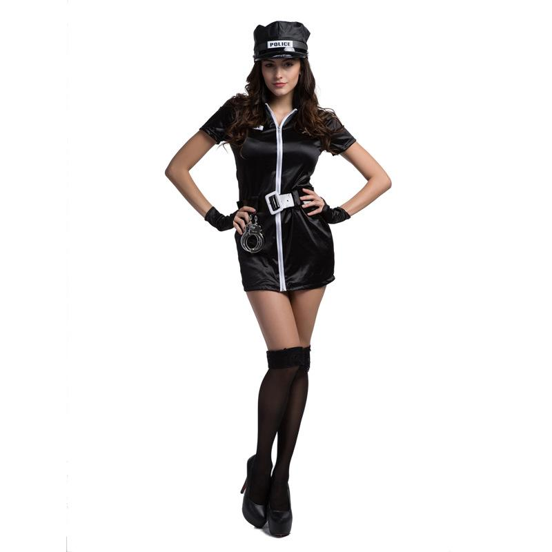 Lcw women's new sexy role-playing ball party Halloween Easter police hat zipper uniform temptation sexy suit