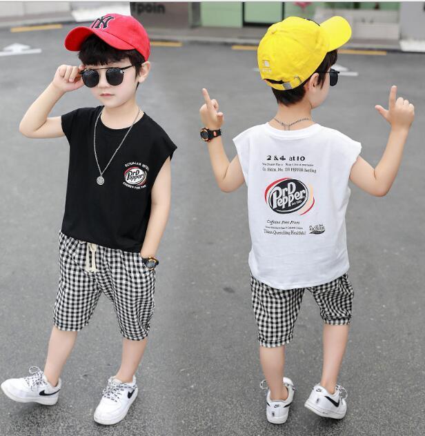 saç üreticinin büyüklüğü 90-140 arasında çocuk giyim tek parça iki takım yelek Yeni erkek yaz ekose pantolon uymak yaz çocuk kolsuz