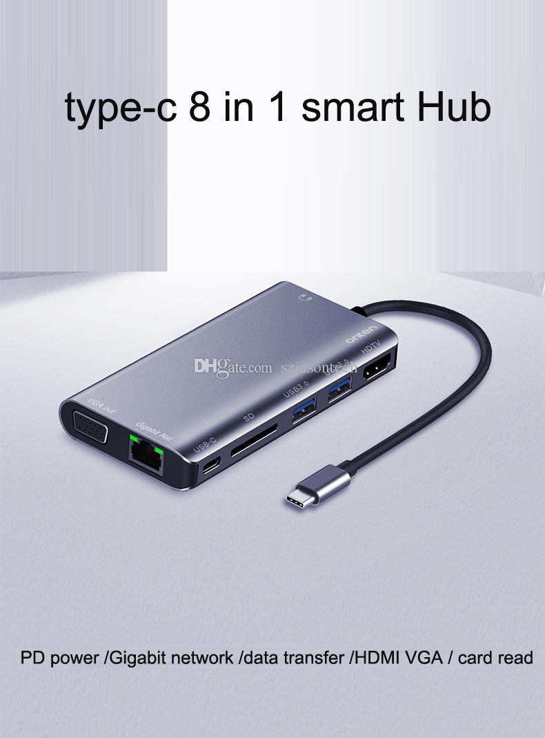 Typ-C-HDMI-VGA-Hub, USB-C RJ45 1000 Mbps USB 3.1 Ethernet LAN Wired-Adapter Hub Daten-Synchronisierungs-OTG-Konverter für MacBook