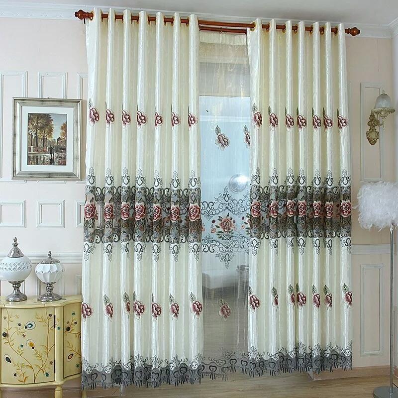 Customized Luxus Europäische Art-Höhle Wasserlösliche Stickerei Vorhang für Wohnzimmer Rich-Pfingstrose Romantische Vorhänge Tüll Volant