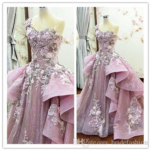 Il treno staccabile Prom Dresses Sheer Applique Ruffle Flower Beads abito da sera collo primavera-estate di lusso di cristallo rosa partito abiti