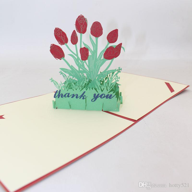 Amazing 3D Handmade Birthday Thank You Greeting Cards Fashion Hollow Tulip Personalised Birthday Cards Paralily Jamesorg