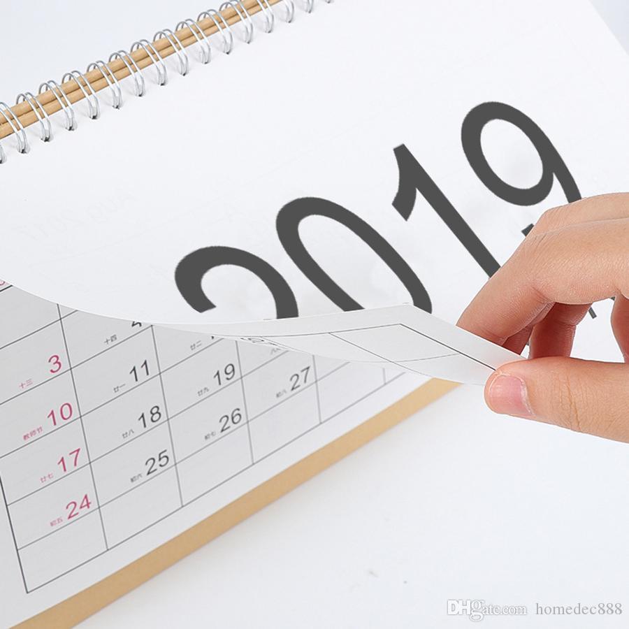 2019 Writable Weekly Planner Monthly List Plan Daily Calendar Desktop Creative Office White Stand Simple 18.5*21cm Calendar 0645-1