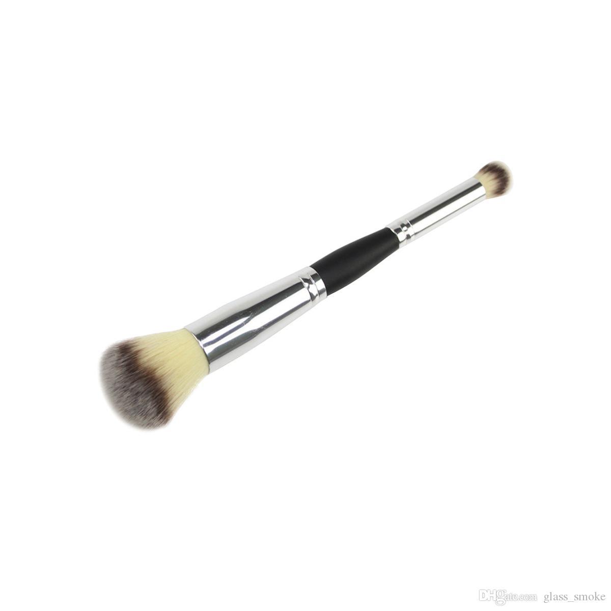 Duplo Foundation cabeça composição escova Profissional Multifuncional Blush face Contour Escova Nose Sombra em Pó Pincéis Cosméticos