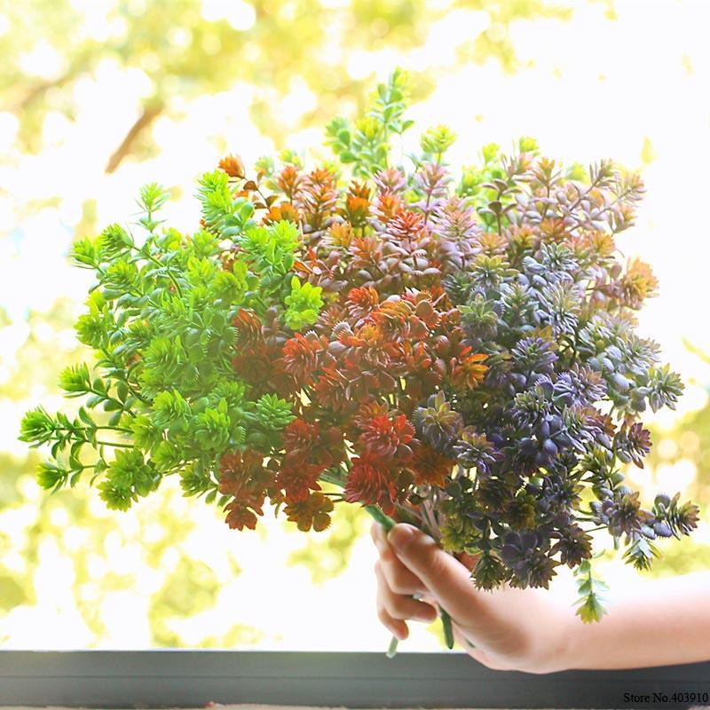 28 têtes Succulentes Plantes Artificielles Automne Faux Feuilles En Plastique Plantes Succulentes Herbe De Lotus pour la Décoration De Mariage De Jardin