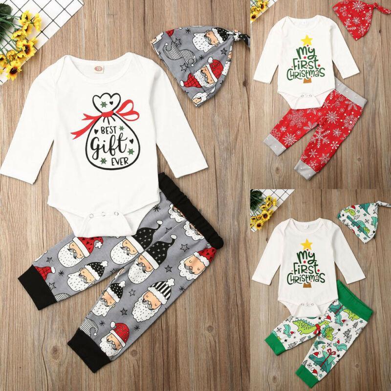 3PCS Erkek Bebek Yenidoğan Giyim My First Noel Harf Romper + Pantolon Kıyafet + Şapka Kafa Seti