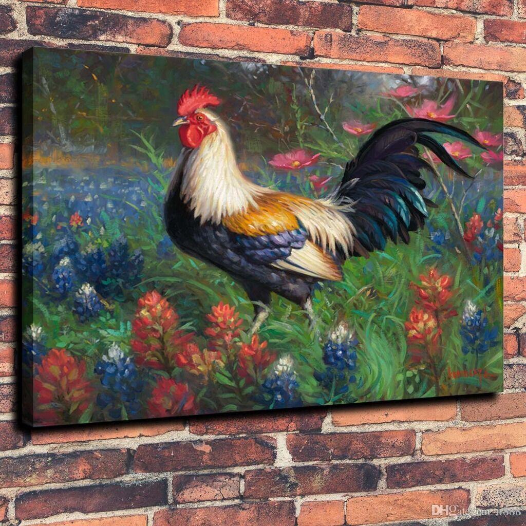Tierkunst Der Hahn Blume Wohnkultur Handwerk / HD-Druck-Ölgemälde auf Leinwand-Wand-Kunst Leinwandbilder 191104