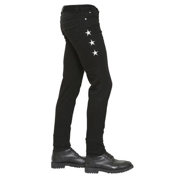Erkek için Moda Five Stars Nakış Erkek Kot Skinny Siyah Kalem Pantolon Sivri Slim Fit Denim Pantolon