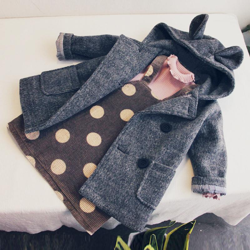 New 2019 Fashion Children Clothing Girl Cartoon Ears Hooded Button Quilted Thickening Winter Outfit Cotton Thickening Warm Coats