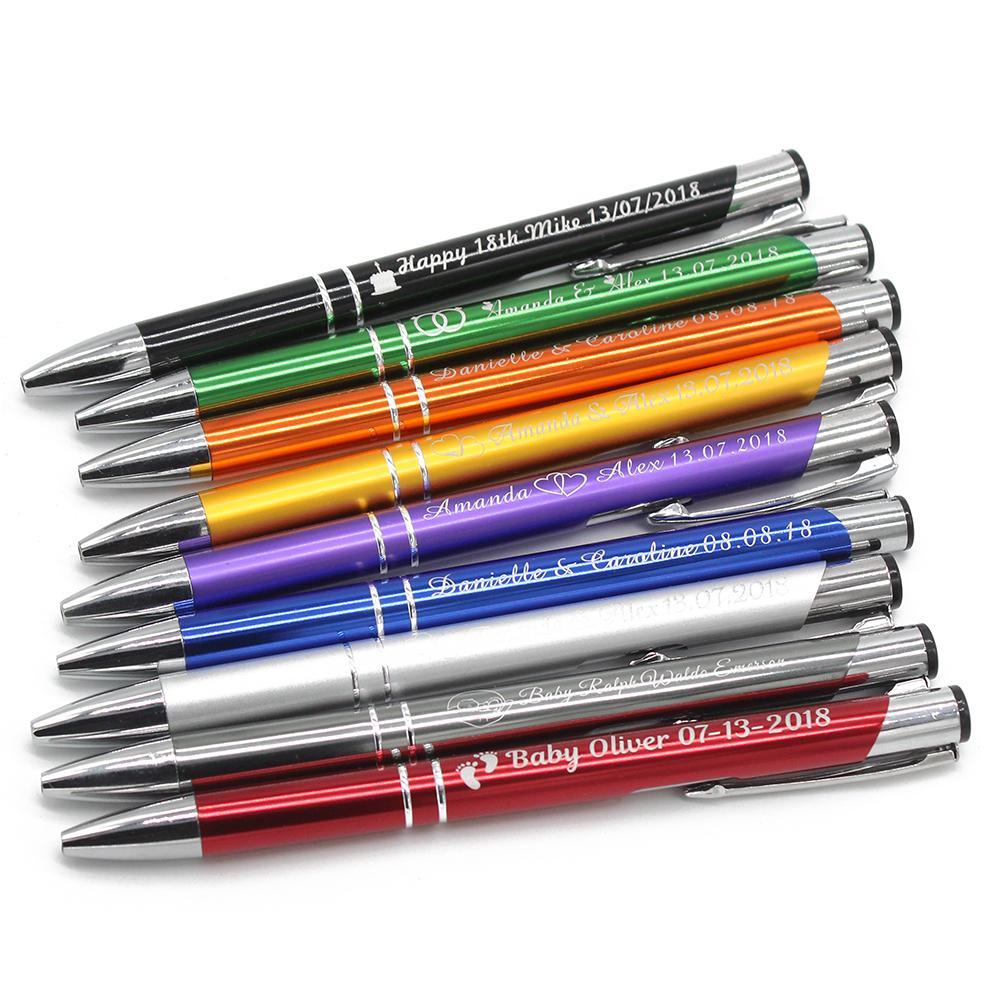 Выгравированные насыпные металлические шариковые ручки персонализированные свадьбы благоприятные детские душ на день рождения крещение вечеринка подарок индивидуальная ручка