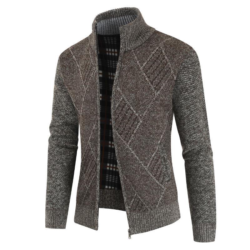 2020 Mens Cardigan Sweater Outono gola Zipper malha Casual Sweatercoat Coats Homens roupa morna velo Knit