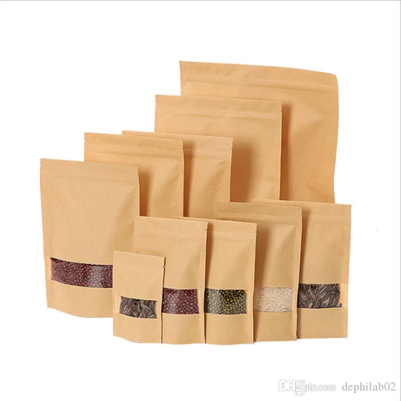 Zip borse di blocco di carta Kraft con Clear Window Zipper dettaglio Mylar Stand Up Pouch per i biscotti alimentari barriera dell'umidità di stoccaggio a secco Herb Packaging